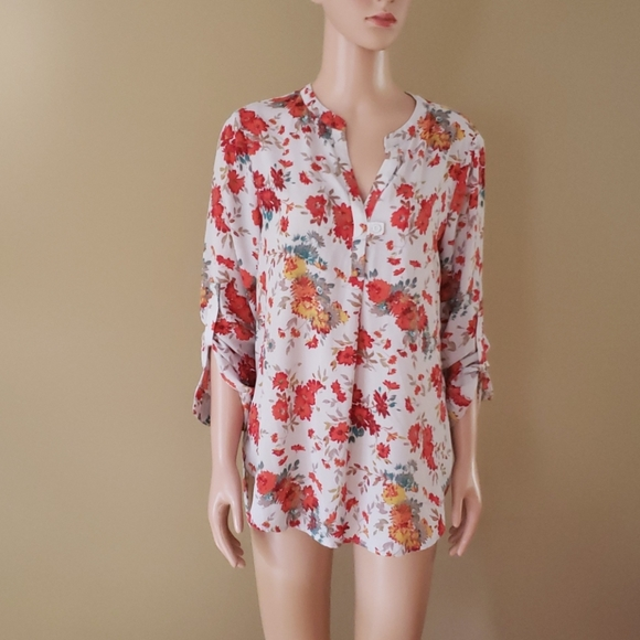 Pleione by Anthropologie  floral blouse size M